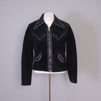 Vintage 60s Custom LEATHER JACKET / 1960s Studded Navy Blue Suede Biker Moto Rocker Jacket M