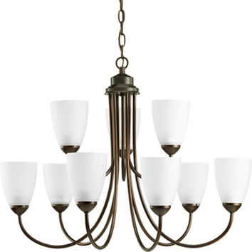 Progress Lighting P4627--20EBWB Gather Antique Bronze Nine-Light Compact Fluorescent Chandelier with Etched Glass Shade