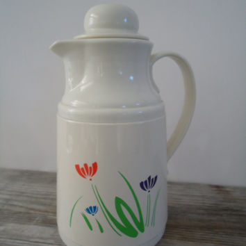 Phoenix Thermos Vintage Hot Cold Thermo Carafe , Wild Flower Pattern Insulated Pitcher Elegant Coffee Tea Pot