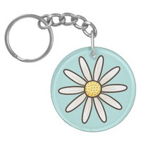 White daisy on aqua blue background Double-Sided round acrylic keychain