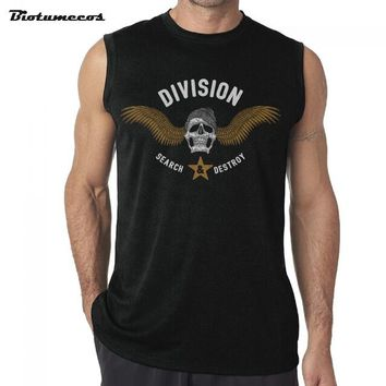 Men Tank Tops Fashion 100% Cotton Brand Sleeveless T-shirts Skull and letters Image Printed Casual Summer Vest MWK058 - 15296638Black, XL