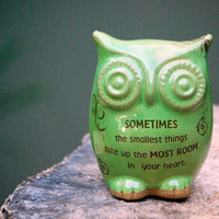 Owl children decor with Winnie the pooh quote in spring green