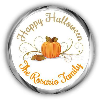 Swirly Pumpkin Personalized Halloween Hershey Kisses Stickers
