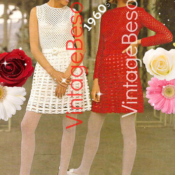 Digital Pattern - Ladies Dress Crochet Pattern - Vintage Beso PDF Pattern - Vintage 1970s Long Sleeve Dress Wedding Dress Sleeveless