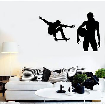 Vinyl Decal Wall Training Skate and Volleyball Unique Gift Sing Sport Sticker (np003)
