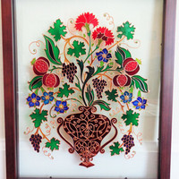 "Vintage flowers painting 12""x15"" Glass painting Bohemian decor Wall decor"