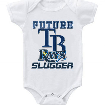 New Cute Funny Baby One Piece Bodysuit Baseball Future Slugger MLB Tampa Bay Rays #2
