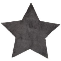 Charcoal Faux Fur Star Rug
