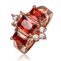 18K Rose Gold Plated Red Swarovski Elements Crystal Crown Ring, Size 8