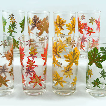 Vintage Thanksgiving Federal Glassware Cut Maple Leaf Glasses in Original Box - Set of 8,New Old Stock