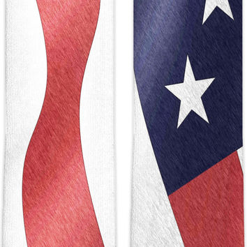 Patriotic knee high socks, US flag color pencils, America style accessory in color