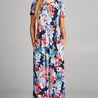 Short Sleeve Floral Maxi Dress - Navy and Coral