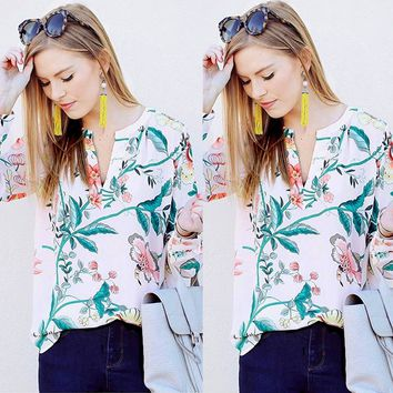 Flower Print White Blouse