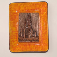 Orange Glazed Vintage Walt Disney World Trinket Dish/ Ashtray