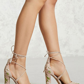 Lace-Up Floral Heels (Wide)