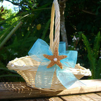 Beach Wedding Starfish Flower Girl Basket-Destination Weddings, Beach Weddings, Coastal Decor, Beach House Decor, Flower Girl