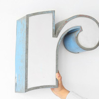 """Large Industrial Metal Letter """"r"""" / Reclaimed Socialist Signage Advertising / Salvaged Volumetric Letter / Romania - 60s"""