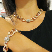 Thick Chunky Rose Gold Chain Necklace and Bracelet with Silver Rhinestone Magnetic Ball Closure