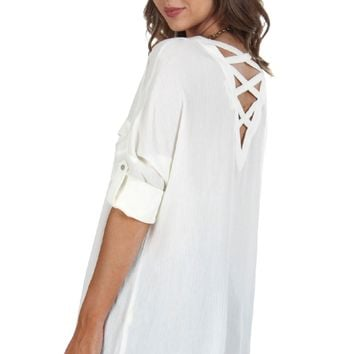 Criss-Cross Blouse Ivory