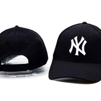 Black & White NY Printed Sport Baseball Cap Hats