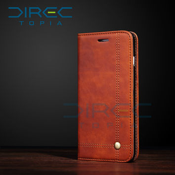 DIRECTopia Luxury Brand Second Layer Genuine Leather Flip Phone Cases Cover for iPhone 7 6 6s Plus iphon 5s SE Case Card Holder