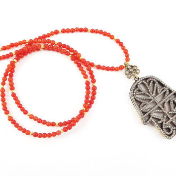 Hamsa Hand of Fatima Rhinestone Necklace Orange Jade Stone Gemstone Statement Gypsy Hippie Bohemian Artisan - One Of A Kind