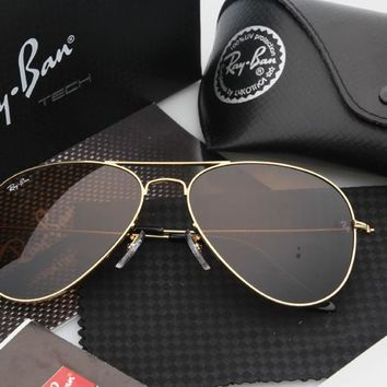 Ray Ban Aviator Sunglasses Gold Brown Mirrored RB 3025 Fashion Sunglasses