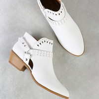 Studded Snake Skin Texture Bootie with Cut Out Detail WHITE | MakeMeChic.COM