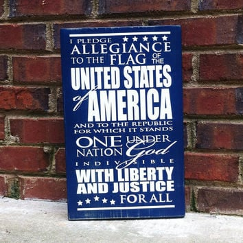 Patriotic Vintage Style Subway Sign Pledge of Allegiance 15 by 9  Home Decor Porch Office