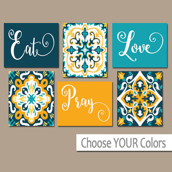 EAT PRAY LOVE Kitchen Wall Art - Kitchen Canvas or Prints - Dining Room Decor - Kitchen Decor - Talavera Pictures - Set of 6 Home Decor