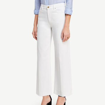 Raw Hem Wide Leg Crop Jeans | Ann Taylor