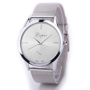 LVPAI Ladies Steel Mesh Band Watch Women Simple Design Large Dial Wrist Watches Women's Casual Clock Quartz Watch Bracelet #LH