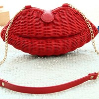 Woven Pattern Lips Wicker Vintage Clutch Shoulder Beach Straw Handbag (Red)