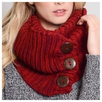 Cozy Warm Chunky Knit Button Accent Red Infinity Scarf
