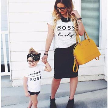 2017 New Arrival Family Look Mini Boss Print Couple T Shirts  Father Mother Kids Outfits Cotton Tees Summer Matching Clothes
