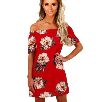 Off Shoulder Flower Printing Mini Dress
