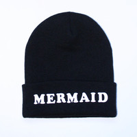 SEMI ANNUAL SALE- Black Beanie with words, Black mermaid beanie, grunge, slouch beanie, beanie with letters, Black mermaid Beanie