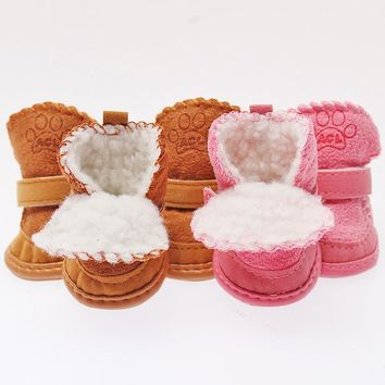 New For NEW Pet Dog Cat Winter Snow Booties Cotton Blend Rubber Warmer Puppy Boots Shoes