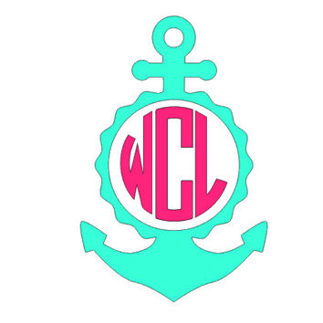 Anchor Circle Monogram Decal, Three Initial Sticker, Decal Monogram,Anchor Monogram,Tumbler Decal, Laptop Monogram Decal,Car Decal,Preppy