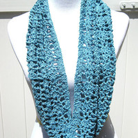 Blue Crochet Lacy Cowl with sequins