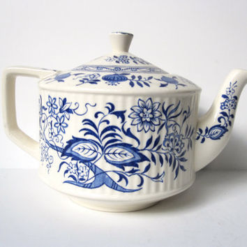 Blue Onion Teapot by Sadler Made in England by CarpeDiemTreasures