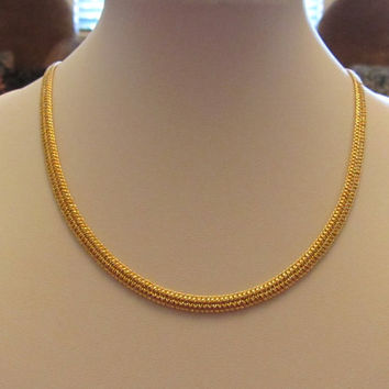 14K Gold Electroplate JC Lind Woven Chain Necklace 19.5""