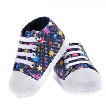 Choice of Girls or Boys Canvas Style Soft Baby Shoes