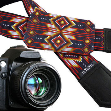 Red camera accessories. Native American Inspired camera strap with pocket. Red, white, yellow camera strap. Custom with your initials!