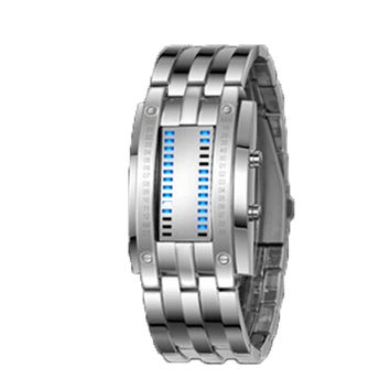 Deep Waterproof Creative Date Digital LED Luminous steel Men Women Bracelet Fashion Chic Watch Silver Men