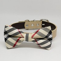 Plaid Burly wood dog bow tie with collar, Plaid wedding dog ideas, pet wedding