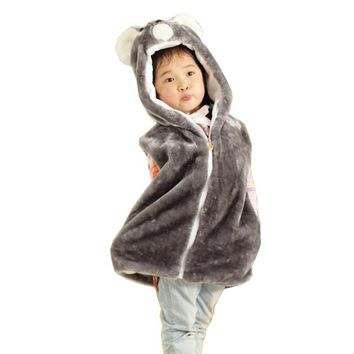 DOUBCHOW Kids Boy Girl Animal Vest Koala Children's Cute Cartoon Sleeveless Hoodie Winter Hooded Warm Outwear Coat Fleece Inside
