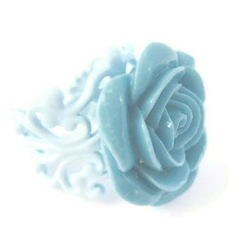 Rose Ring Blue Filigree Summer Trends Pantone Flower