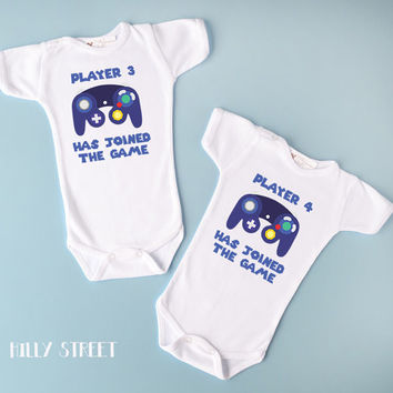 Funny Baby Twins Clothes - Player 3 and Player 4 Twin Bodysuits, Adorable Video Game Twin Outfit, Short or Long Sleeve