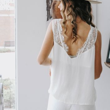 Lauren Cream Lace Tank